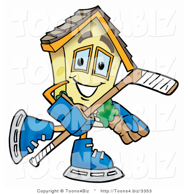 Illustration of a Cartoon House Mascot Playing Ice Hockey