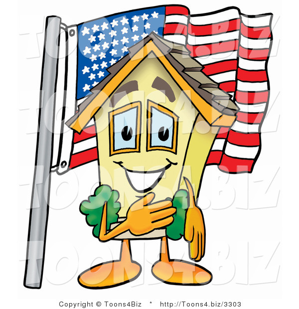 Illustration of a Cartoon House Mascot Pledging Allegiance to an American Flag