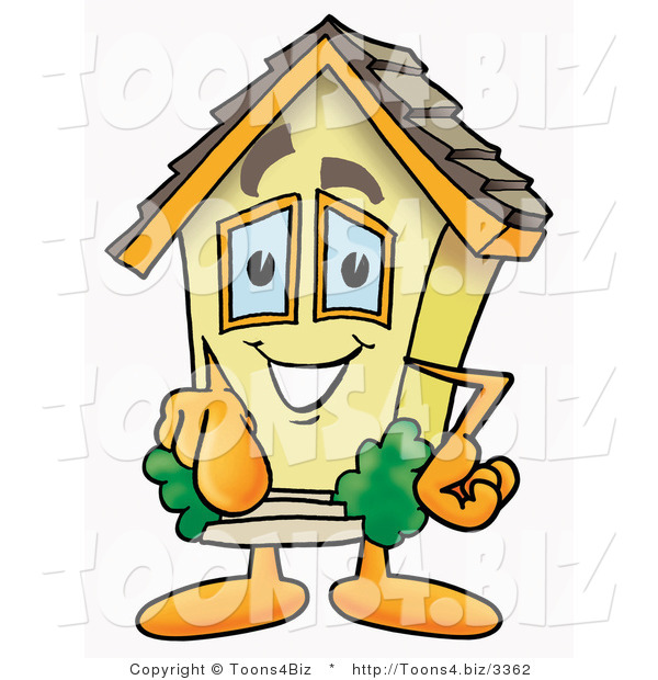 Illustration of a Cartoon House Mascot Pointing at the Viewer