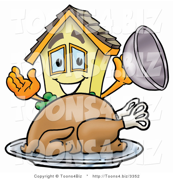 Illustration of a Cartoon House Mascot Serving a Thanksgiving Turkey on a Platter