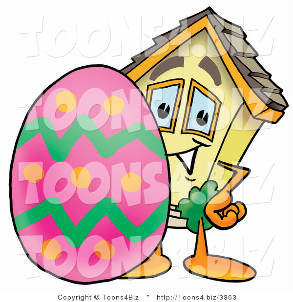 Illustration of a Cartoon House Mascot Standing Beside an Easter Egg