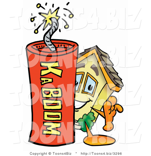 : Illustration of a Cartoon House Mascot Standing with a Lit Stick of Dynamite