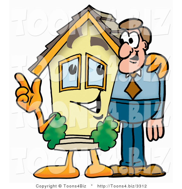 : Illustration of a Cartoon House Mascot Talking to a Business Man