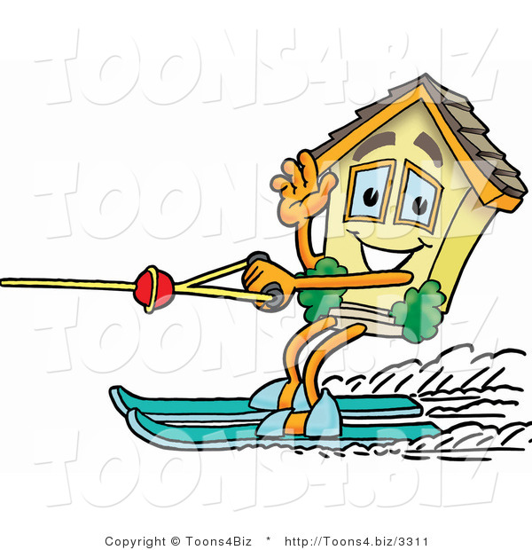 Illustration of a Cartoon House Mascot Waving While Water Skiing