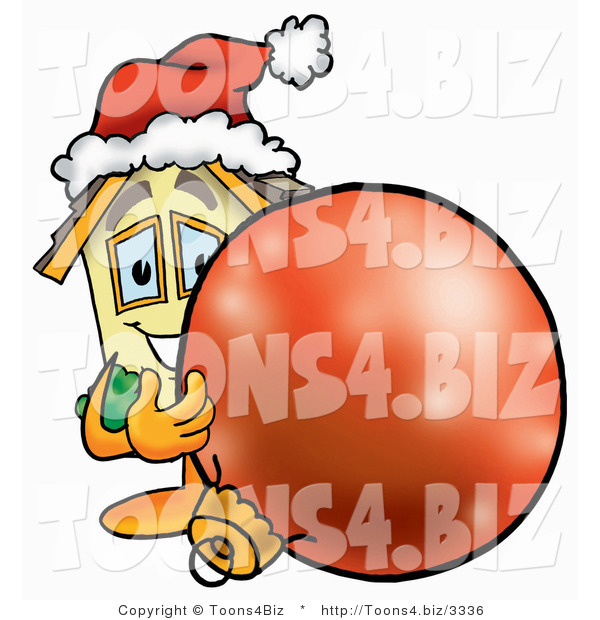 Illustration of a Cartoon House Mascot Wearing a Santa Hat, Standing with a Christmas Bauble