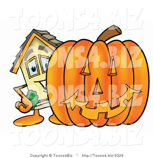 Illustration of a Cartoon House Mascot with a Carved Halloween Pumpkin