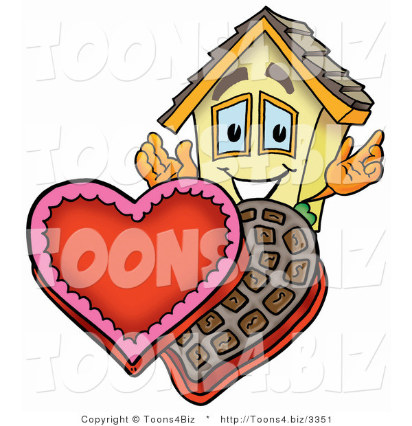 Illustration of a Cartoon House Mascot with an Open Box of Valentines Day Chocolate Candies