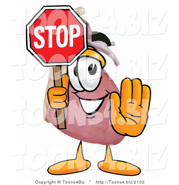 Illustration of a Cartoon Human Heart Mascot Holding a Stop Sign