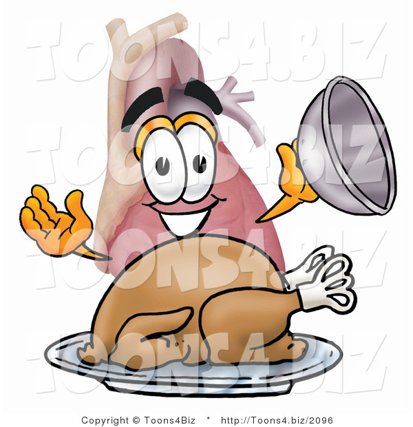 Illustration of a Cartoon Human Heart Mascot Serving a Thanksgiving Turkey on a Platter