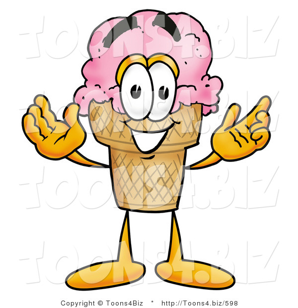 Illustration of a Cartoon Ice Cream Cone Mascot with Welcoming Open Arms
