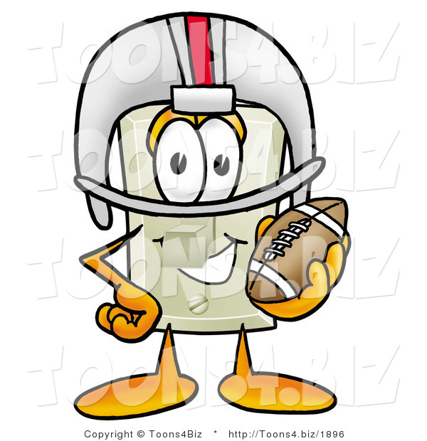 Illustration of a Cartoon Light Switch Mascot in a Helmet, Holding a Football