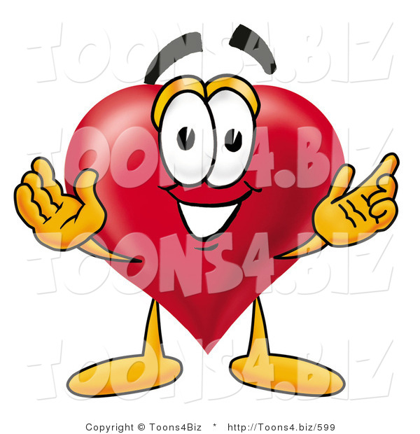 Illustration of a Cartoon Love Heart Mascot with Welcoming Open Arms
