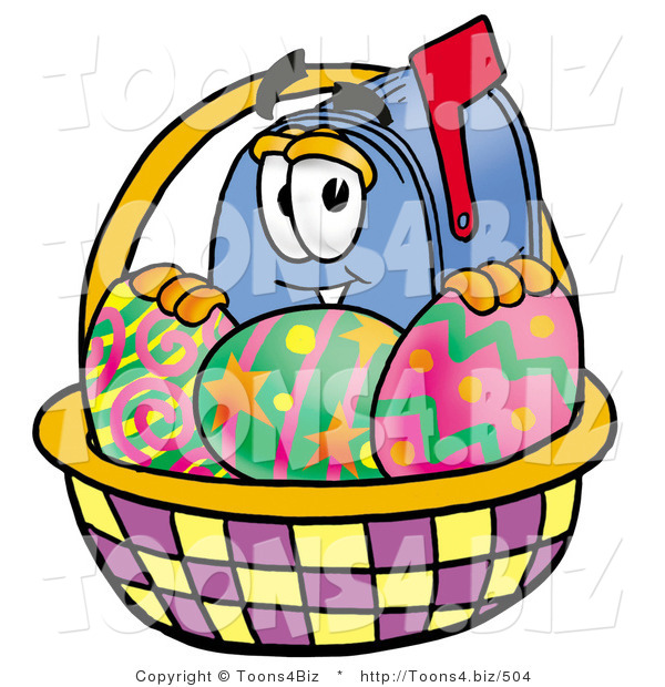 Illustration of a Cartoon Mailbox in an Easter Basket Full of Decorated Easter Eggs