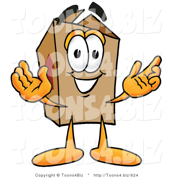 Illustration of a Cartoon Packing Box Mascot with Welcoming Open Arms