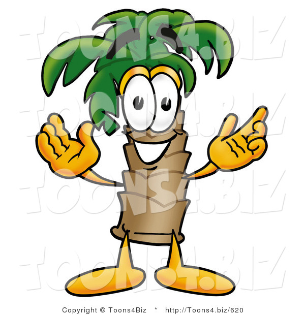Illustration of a Cartoon Palm Tree Mascot with Welcoming Open Arms