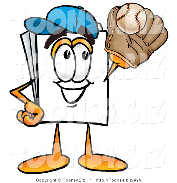 Illustration of a Cartoon Paper Mascot Catching a Baseball with a Glove