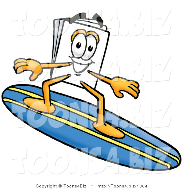 Illustration of a Cartoon Paper Mascot Surfing on a Blue and Yellow Surfboard