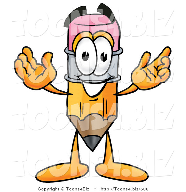 Illustration of a Cartoon Pencil Mascot with Welcoming Open Arms