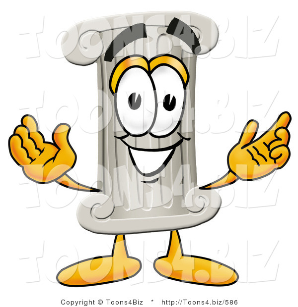 Illustration of a Cartoon Pillar Mascot with Welcoming Open Arms
