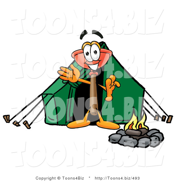 Illustration of a Cartoon Plunger Mascot Camping with a Tent and Fire