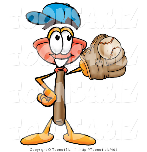 Illustration of a Cartoon Plunger Mascot Catching a Baseball with a Glove