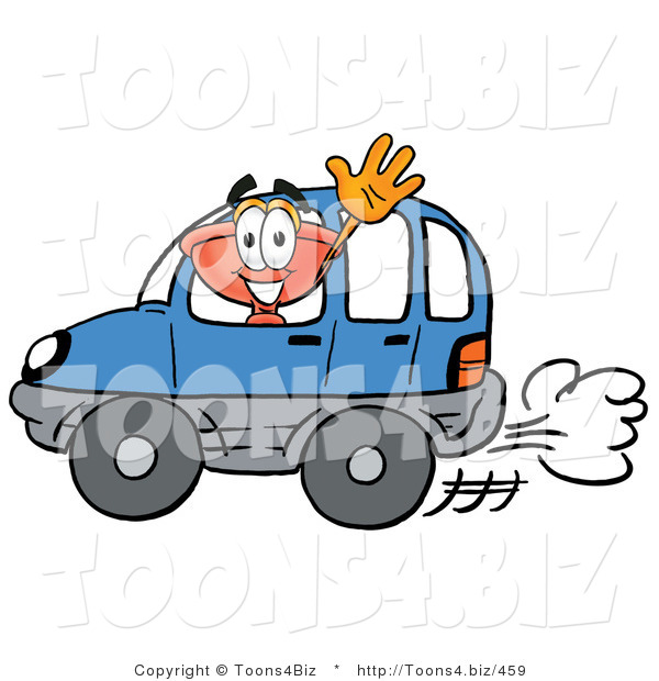 Illustration of a Cartoon Plunger Mascot Driving a Blue Car and Waving