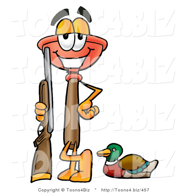 Illustration of a Cartoon Plunger Mascot Duck Hunting, Standing with a Rifle and Duck