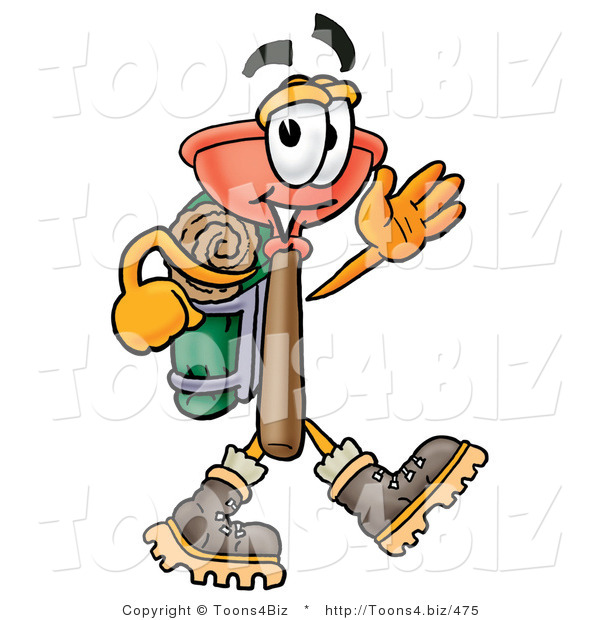 Illustration of a Cartoon Plunger Mascot Hiking and Carrying a Backpack