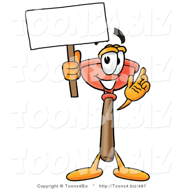 Illustration of a Cartoon Plunger Mascot Holding a Blank Sign