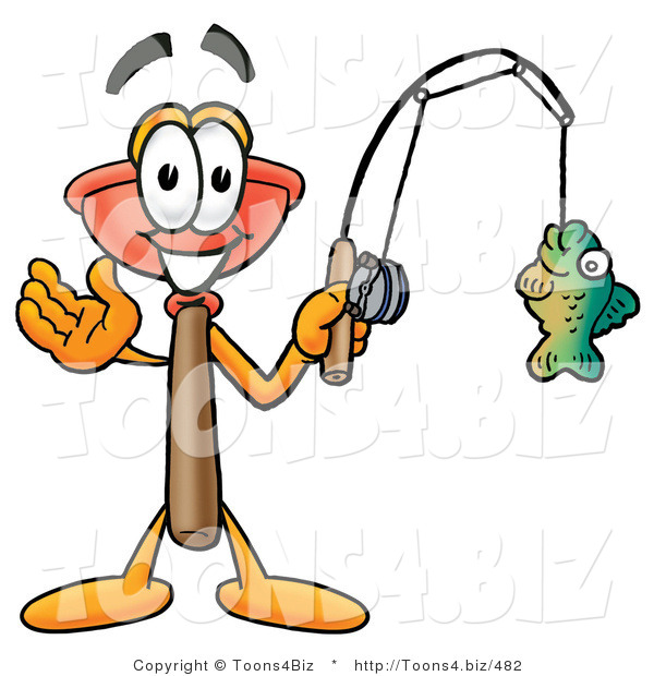 Illustration of a Cartoon Plunger Mascot Holding a Fish on a Fishing Pole