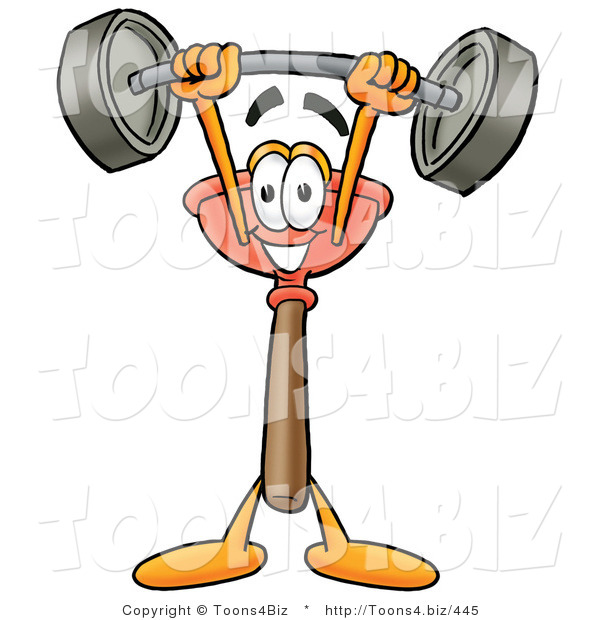 Illustration of a Cartoon Plunger Mascot Holding a Heavy Barbell Above His Head