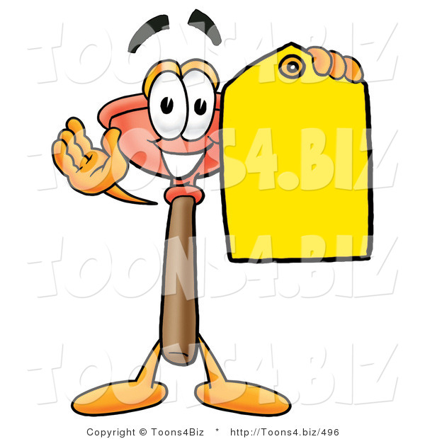 Illustration of a Cartoon Plunger Mascot Holding a Yellow Sales Price Tag