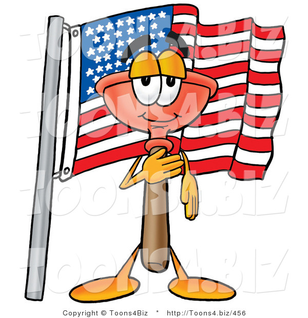 Illustration of a Cartoon Plunger Mascot Pledging Allegiance to an American Flag