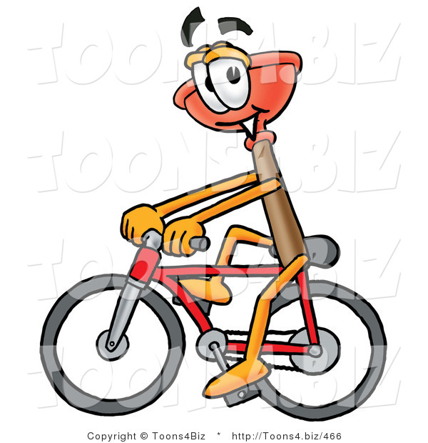 Illustration of a Cartoon Plunger Mascot Riding a Bicycle