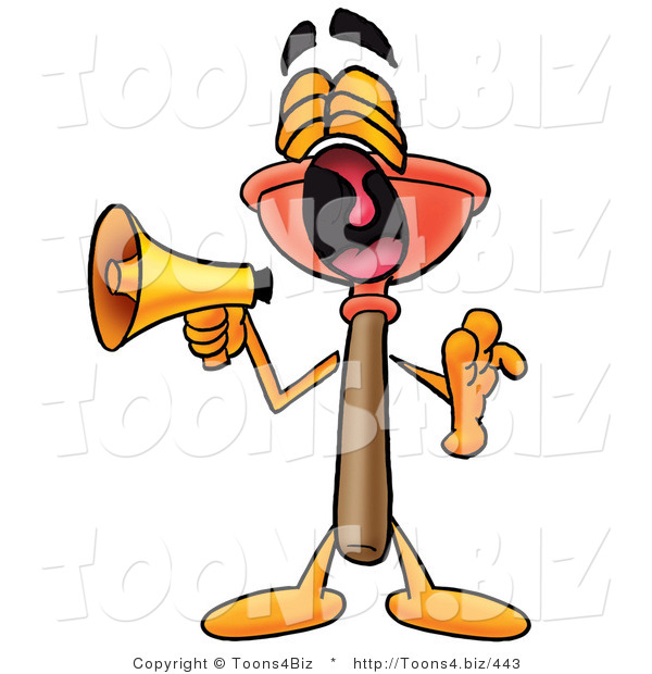 Illustration of a Cartoon Plunger Mascot Screaming into a Megaphone