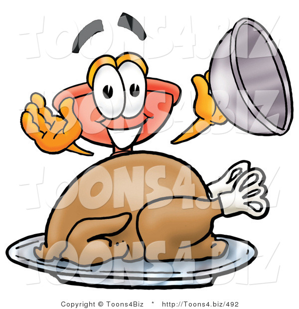 Illustration of a Cartoon Plunger Mascot Serving a Thanksgiving Turkey on a Platter