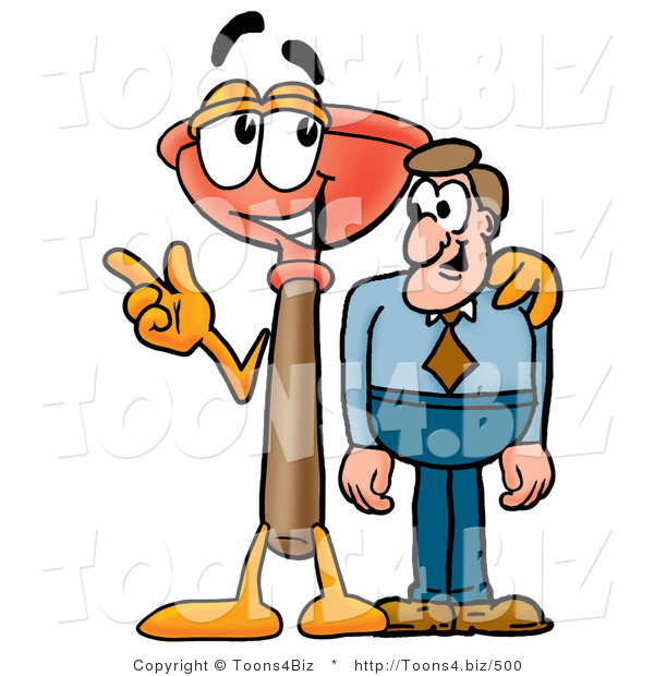 Illustration of a Cartoon Plunger Mascot Talking to a Business Man
