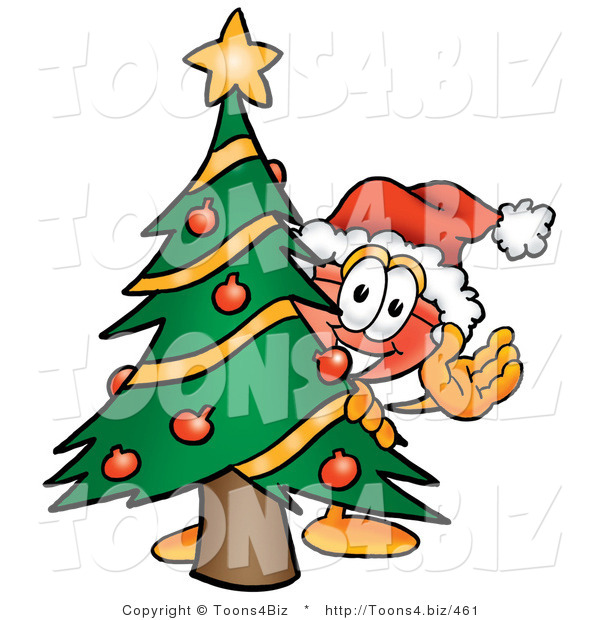 Illustration of a Cartoon Plunger Mascot Waving and Standing by a Decorated Christmas Tree
