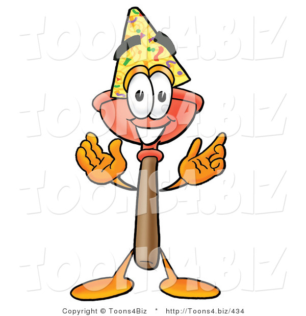 Illustration of a Cartoon Plunger Mascot Wearing a Birthday Party Hat