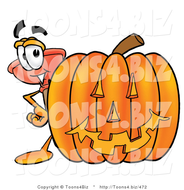 Illustration of a Cartoon Plunger Mascot with a Carved Halloween Pumpkin