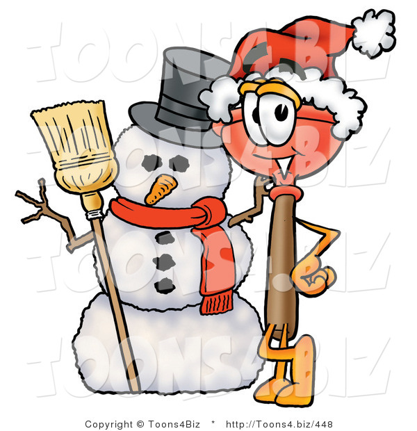 Illustration of a Cartoon Plunger Mascot with a Snowman on Christmas