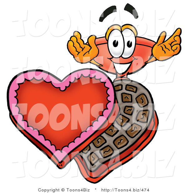 Illustration of a Cartoon Plunger Mascot with an Open Box of Valentines Day Chocolate Candies