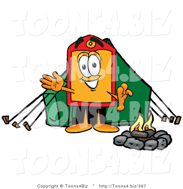 Illustration of a Cartoon Price Tag Mascot Camping with a Tent and Fire