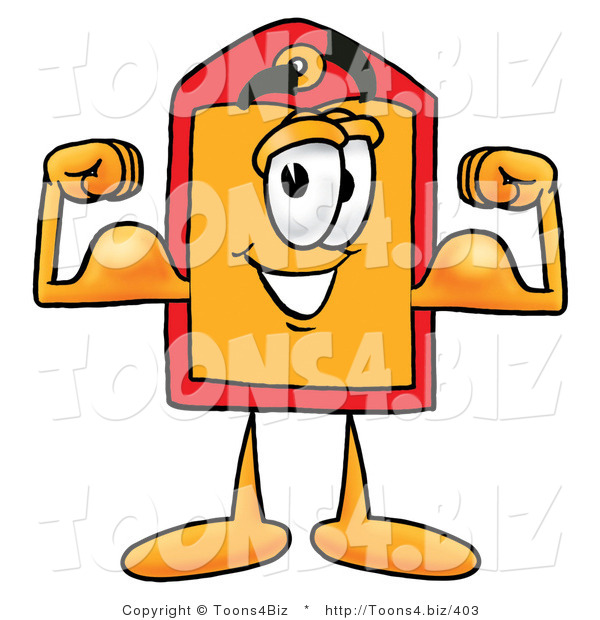 Illustration of a Cartoon Price Tag Mascot Flexing His Arm Muscles