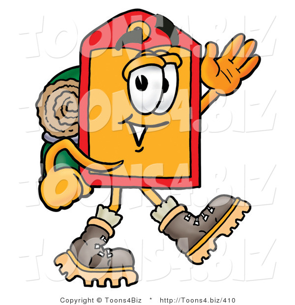 Illustration of a Cartoon Price Tag Mascot Hiking and Carrying a Backpack