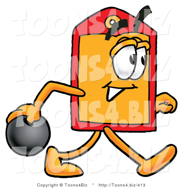Illustration of a Cartoon Price Tag Mascot Holding a Bowling Ball