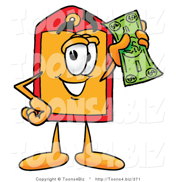 Illustration of a Cartoon Price Tag Mascot Holding a Dollar Bill