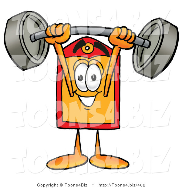 Illustration of a Cartoon Price Tag Mascot Holding a Heavy Barbell Above His Head
