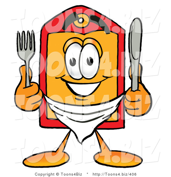 Illustration of a Cartoon Price Tag Mascot Holding a Knife and Fork