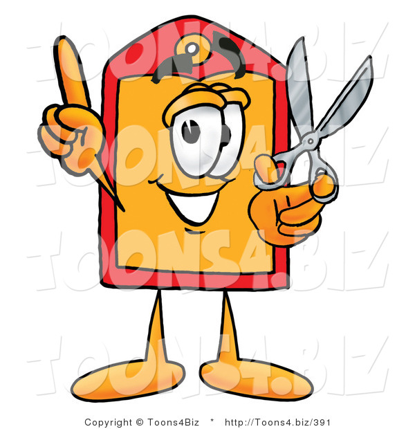 Illustration of a Cartoon Price Tag Mascot Holding a Pair of Scissors